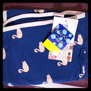 NWT kickee swaddle blanket navy swans